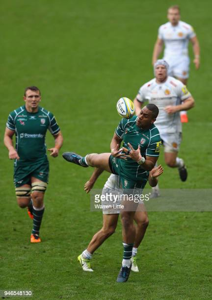 Joe Cokanasiga of London Irish jumps for the ball during the Aviva Premiership match between London Irish and Exeter Chiefs at Madejski Stadium on...