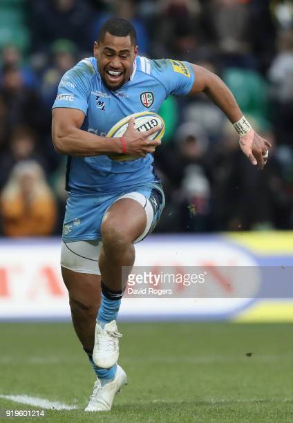 Joe Cokanasiga of London Irish runs with the ball during the Aviva Premiership match between Northampton Saints and London Irish at Franklin's...