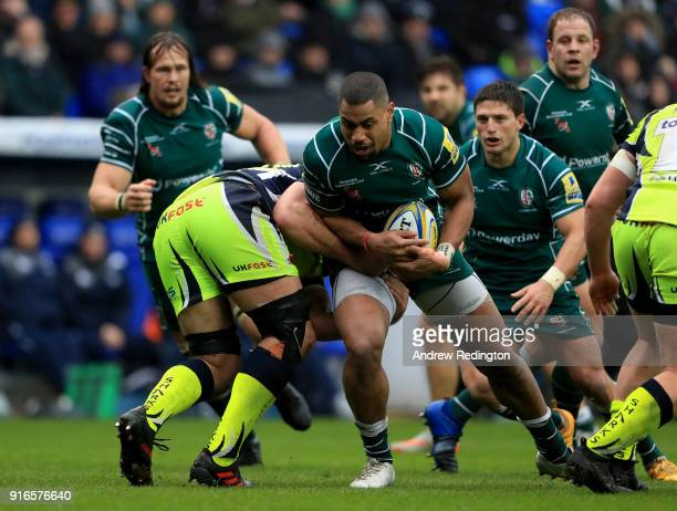 Joe Cokanasiga of London Irish takes on the Sale Sharks defence during the Aviva Premiership match between London Irish and Sale Sharks at Madejski...