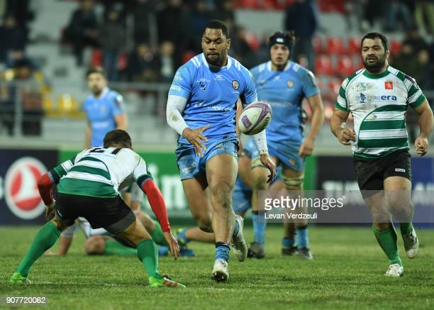 Joe Cokanasiga of London Irish with ball during the European Rugby Challenge Cup match between Krasny Yar and London Irish at Avchala Stadium on...