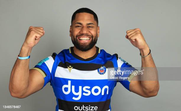 Joe Cokanasiga poses for a portrait during the Bath Rugby Squad Photocall for the 2021-2022 Gallagher Premiership Rugby season on October 13, 2021 in...