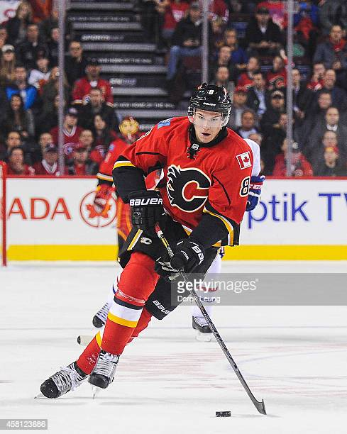 Joe Colborne of the Calgary Flames in action against the Montreal Canadiens during an NHL game at Scotiabank Saddledome on October 28 2014 in Calgary...