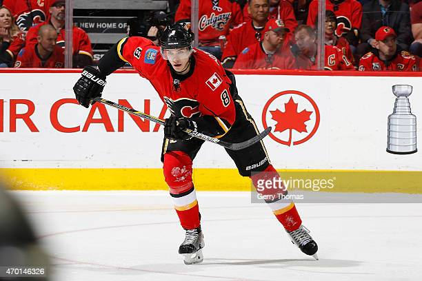 Joe Colborne of the Calgary Flames skates against the Los Angeles Kings at Scotiabank Saddledome on April 9 2015 in Calgary Alberta Canada