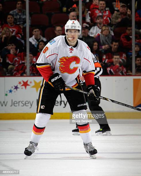 Joe Colborne of the Calgary Flames skates against the New Jersey Devils at the Prudential Center on April 7 2014 in Newark New Jersey The Flames...