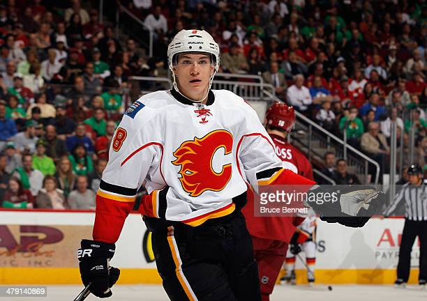 Joe Colborne of the Calgary Flames skates against the Phoenix Coyotes at the Jobingcom Arena on March 15 2014 in Glendale Arizona The Coyotes...