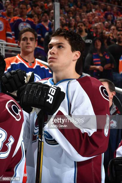 Joe Colborne of the Colorado Avalanche stands for the singing of the national anthem prior to the game against the Edmonton Oilers on March 25 2017...