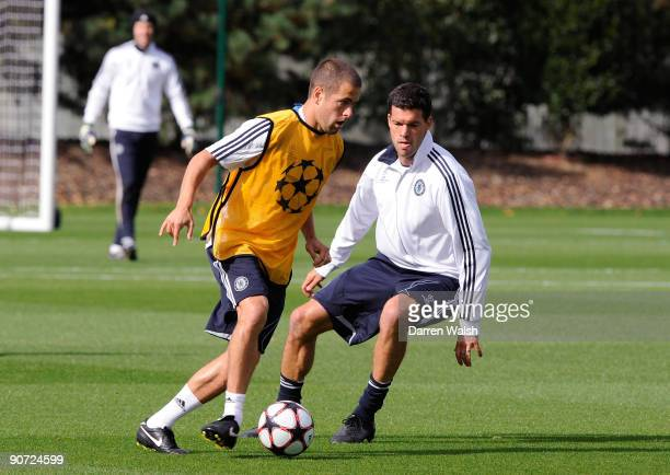 Joe Cole and Michael Ballack of Chelsea during a training session at the club's Cobham training ground on September 14 2009 in Cobham Surrey