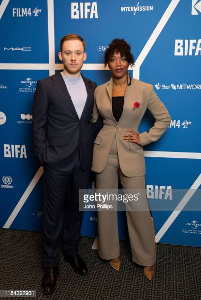 Joe Cole and Naomi Ackie attend the BIFA Nominations Announcement photocall at Regent Street Cinema on October 30, 2019 in London, England.