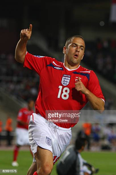 Joe Cole celebrates scoring England's second goal during the FIFA 2010 Group Six World Cup Qualifying match between Andorra and England at the...