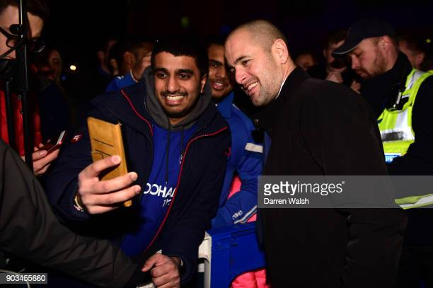 Joe Cole former Chelsea player poses for a selfie during the Carabao Cup SemiFinal First Leg match between Chelsea and Arsenal at Stamford Bridge on...