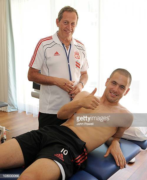 Joe Cole gives the thumbs up as he receives his medical from Dr Peter Brukner Head of Sports Medicine and Sports Science at the club's preseason...