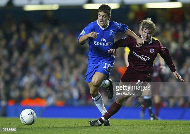 Joe Cole of Chelsea battles for the ball with Tomas Hubschman of Sparta Prague during the UEFA Champions League Group G match between Chelsea and...