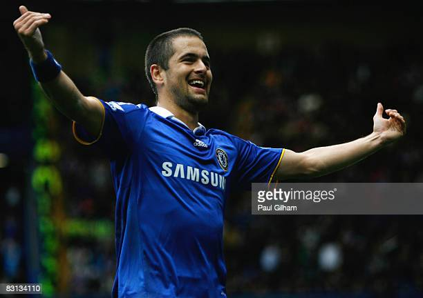 Joe Cole of Chelsea celebrates as he scores their first goal during the Barclays Premier League match between Chelsea and Aston Villa at Stamford...