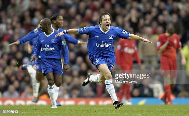 Joe Cole of Chelsea celebrates his goal during the FA Barclays Premiership match between Liverpool and Chelsea at Anfield on January 1 2005 in...