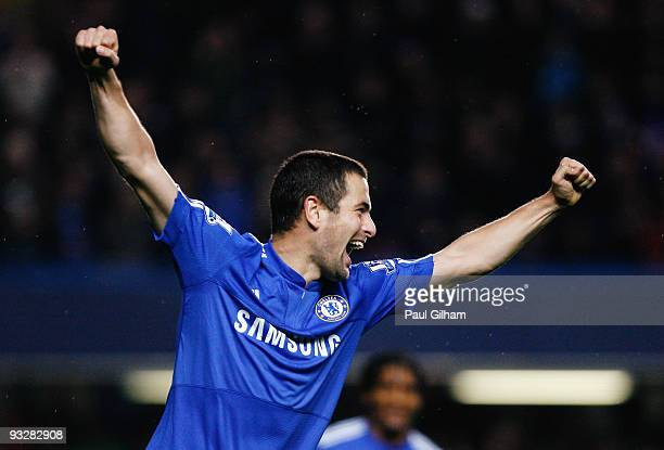 Joe Cole of Chelsea celebrates scoring their fourth goal during the Barclays Premiership match between Chelsea and Wolverhampton Wanderers at...