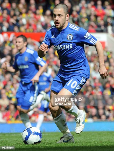 Joe Cole of Chelsea during a Barclays Premier League match between Manchester United and Chelsea at Old Trafford on April 3 2010 in Manchester England