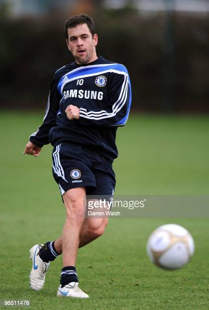 Joe Cole of Chelsea during a training session at Chelsea Training Ground on December 31, 2009 in Cobham, England.