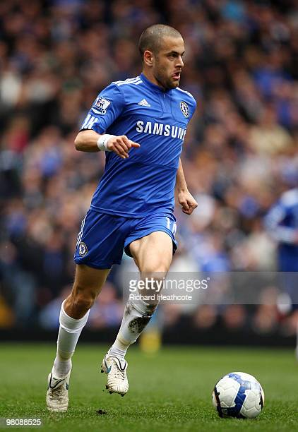 Joe Cole of Chelsea in action during the Barclays Premier League match between Chelsea and Aston Villa at Stamford Bridge on March 27, 2010 in...