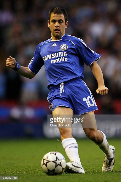 Joe Cole of Chelsea in action during the UEFA Champions League semi final second leg match between Liverpool and Chelsea at Anfield on May 1 2007 in...