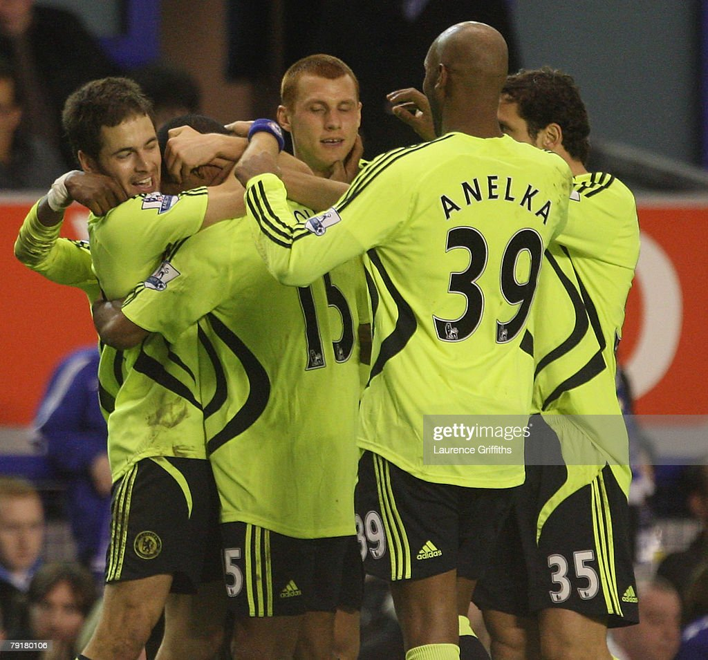 Joe Cole of Chelsea is congratulated on scoring during the Carling Cup Semi Final Second Leg match between Everton and Chelsea at Goodison Park on January 23, 2008 in Liverpool, England.