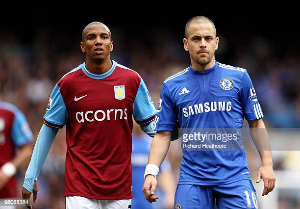Joe Cole of Chelsea looks on with Ashley Young of Aston Villa during the Barclays Premier League match between Chelsea and Aston Villa at Stamford...