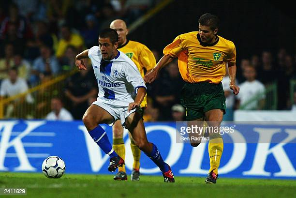 Joe Cole of Chelsea runs with the ball during the UEFA Champions League qualifying round first leg match between MSK Zilina and Chelsea held on...