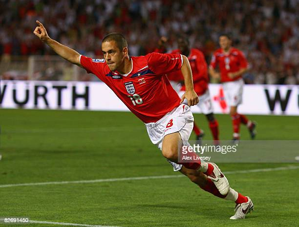 Joe Cole of England celebrates after scoring the opening goal during the FIFA2010 Group Six World Cup Qualifying match between Andorra and England at...