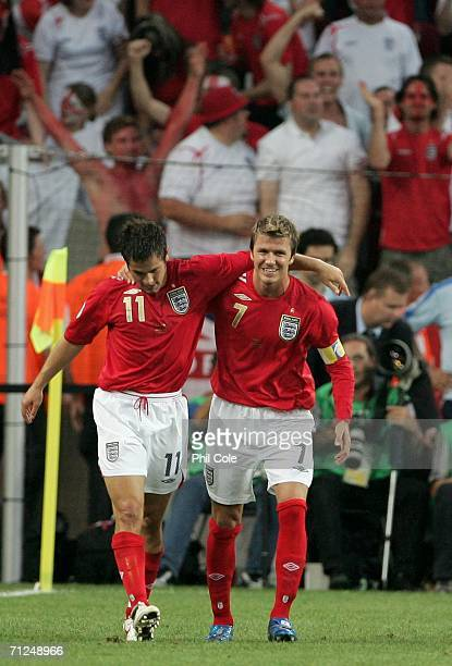 Joe Cole of England celebrates scoring a goal with David Beckham of England during the FIFA World Cup Germany 2006 Group B match between Sweden and...