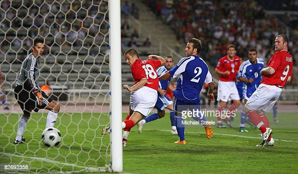 Joe Cole of England has a goal ruled out for offside during the FIFA 2010 Group Six World Cup Qualifying match between Andorra and England at the...