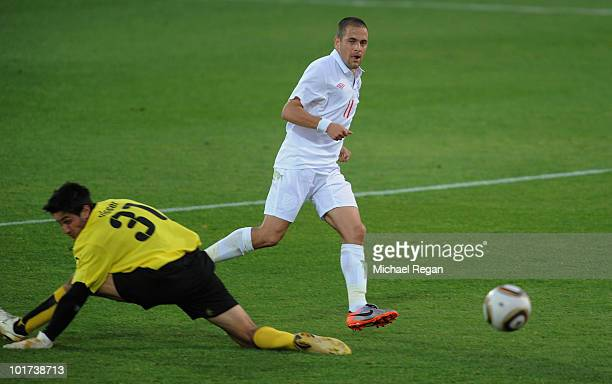 Joe Cole of England scores a goal during the friendly match between England and Platinum Stars at the Moruleng Stadium on June 7 2010 in Moruleng...