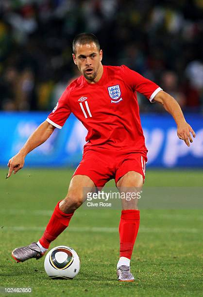 Joe Cole of England with the ball during the 2010 FIFA World Cup South Africa Round of Sixteen match between Germany and England at Free State...