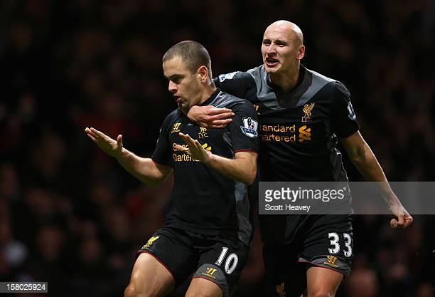 Joe Cole of Liverpool celebrates his goal with Jonjo Shelvey during the Barclays Premier League match between West Ham United and Liverpool at the...