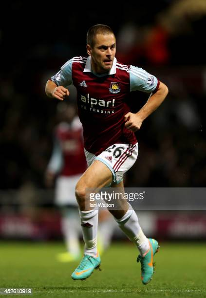 Joe Cole of West Ham United celebrates as he scores their third goal during the Barclays Premier League match between West Ham United and Fulham at...