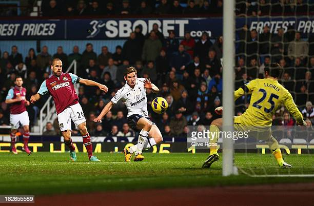 Joe Cole of West Ham United scores his goal during the Barclays Premier League match between West Ham United and Tottenham Hotspur at the Boleyn...