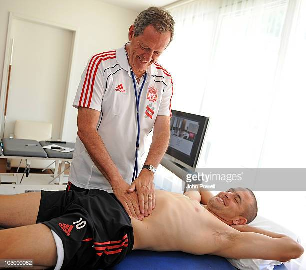 Joe Cole receives his medical from Dr Peter Brukner Head of Sports Medicine and Sports Science at the club's preseason Swiss Training Camp on July 20...