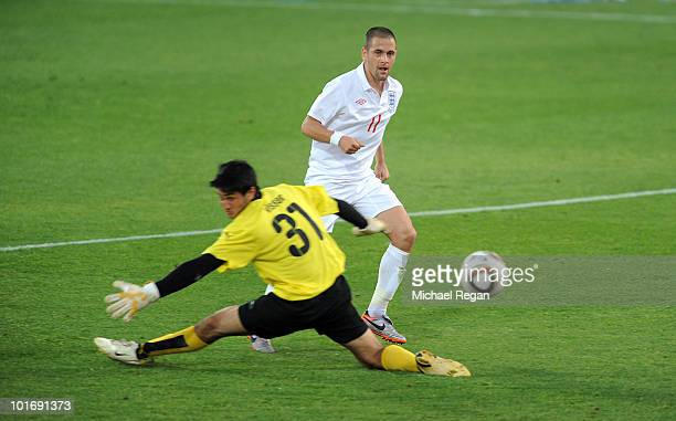 Joe Cole scores a goal during the England v Platinum Stars Friendly match at the Moruleng Stadium on June 7 2010 in Moruleng South Africa
