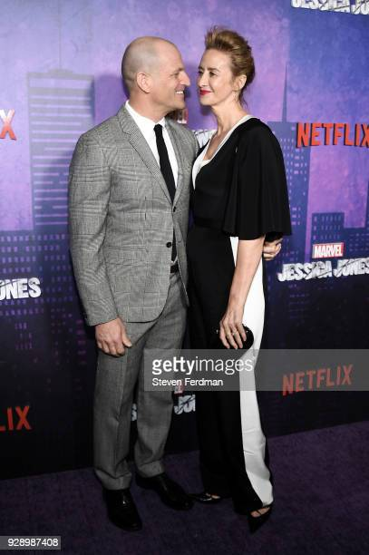 Joe Coleman and Janet McTeer attend Jessica Jones Season 2 New York Premiere at AMC Loews Lincoln Square on March 7 2018 in New York City