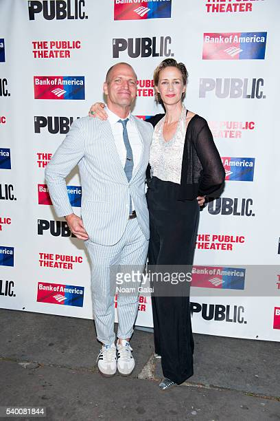 Joe Coleman and Janet McTeer attend the opening night of Taming Of The Shrew at Delacorte Theater on June 13 2016 in New York City