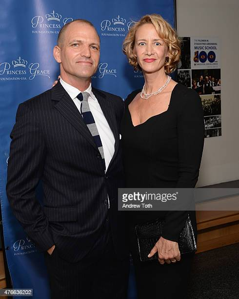 Joe Coleman and Janet McTeer attend the Princess Grace Foundation special screening of Rear Window at The Academy Theater on June 10 2015 in New York...