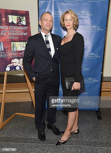 Joe Coleman and Janet McTeer attend the Princess Grace FoundationUSA NY Special Summer 2015 Screening of REAR WINDOW at The Academy Theater on June...
