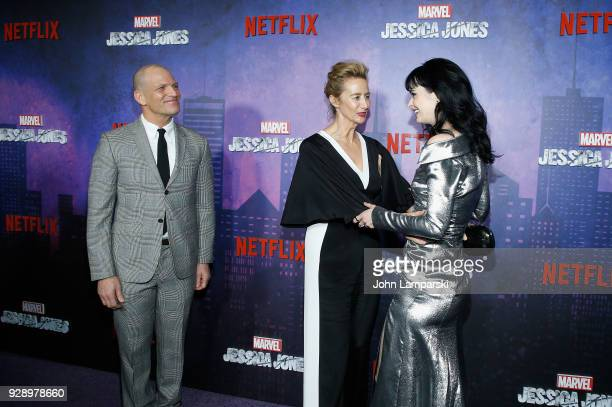 Joe Coleman Janet McTeer and Krysten Ritter attend Jessica Jones season 2 New York Premiere at AMC Loews Lincoln Square on March 7 2018 in New York...