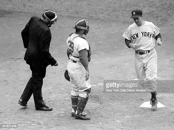 Joe Collins comes in with New York Yankees' second run of the game in the second inning of game two of the World Series against the Brooklyn Dodgers
