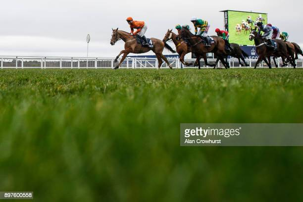 Joe Colliver riding Sam Spinner lead all the way to win The JLT Reve De Sivola Long Walk Hurdle Race at Ascot racecourse on December 23 2017 in Ascot...