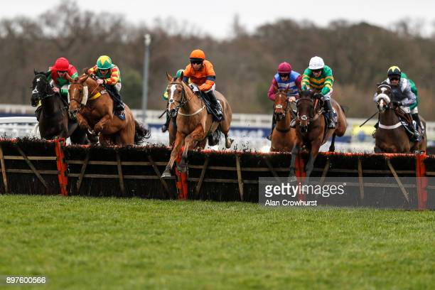 Joe Colliver riding Sam Spinner on their way to winning The JLT Reve De Sivola Long Walk Hurdle Race at Ascot racecourse on December 23 2017 in Ascot...
