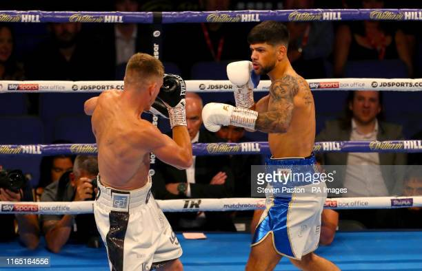 Joe Cordina and Gavin Gwynne compete in the British Commonwealth Lightweight Title bout at the O2 Arena London