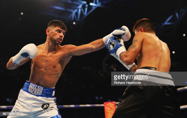 Joe Cordina and Lester Cantillano in action during their Lightweight contest at Principality Stadium on October 28 2017 in Cardiff Wales