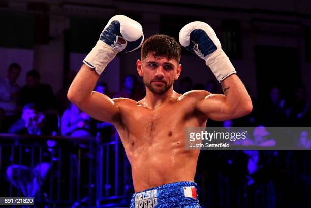 Joe Cordina celebrates beating Lee Connelly in there Lightweight Contest at York Hall on December 13 2017 in London England