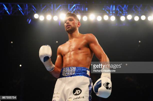 Joe Cordina celebrates victory after the Lightweight contest against Lester Cantillano at Principality Stadium on October 28 2017 in Cardiff Wales