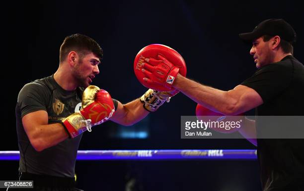Joe Cordina of Great Britain trains during a media workout at the Wembley Arena on April 26 2017 in London England