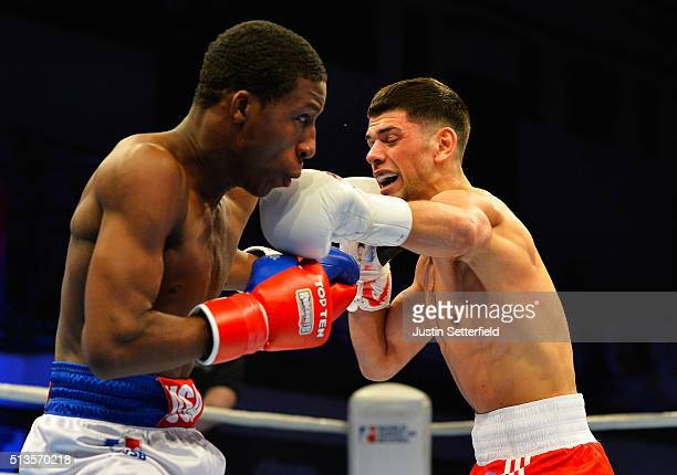Joe Cordina of the British Lionhearts in action against Bruce Carrington of the USA Knockouts during there Lightweight bout during the World Series...